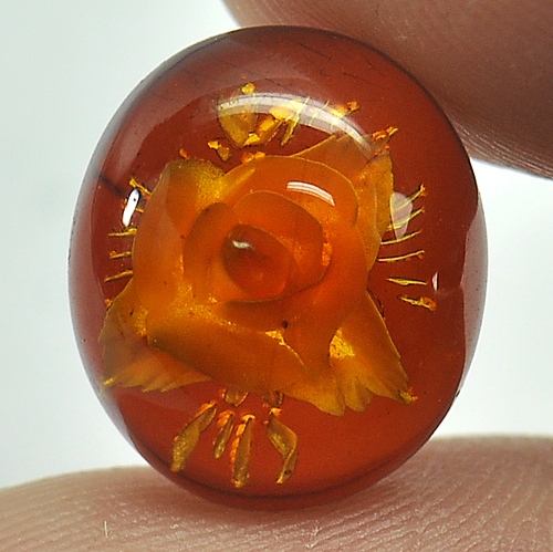 1.79 Ct. Flower Carving In Natural Brown Yellow Amber
