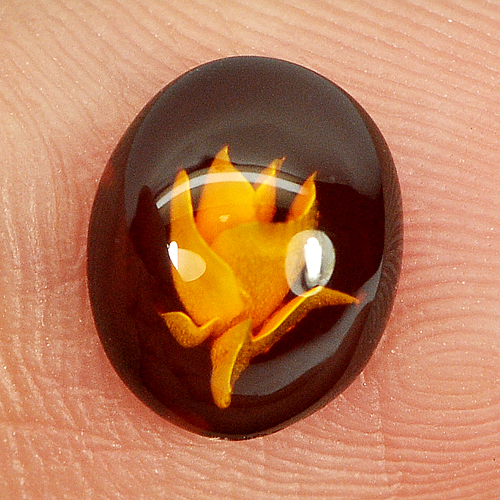 0.31 Ct. Flower Carving In Natural Brown Yellow Amber