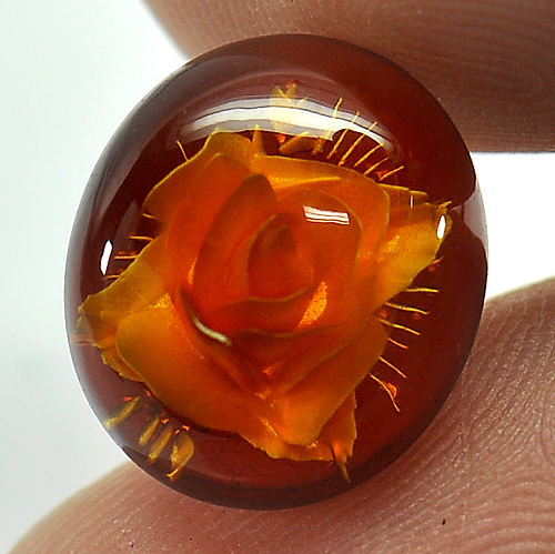 1.80 Ct. Oval Natural Brown Yellow Amber Poland Unheated