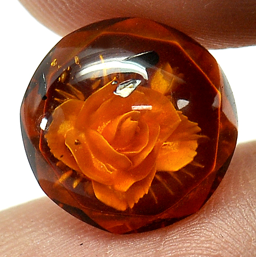 1.70 Ct. Flower Carving In Natural Brown Yellow Amber