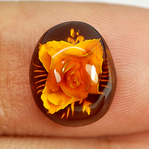 1.05 Ct. Flower Carving In Natural Brown Yellow Amber