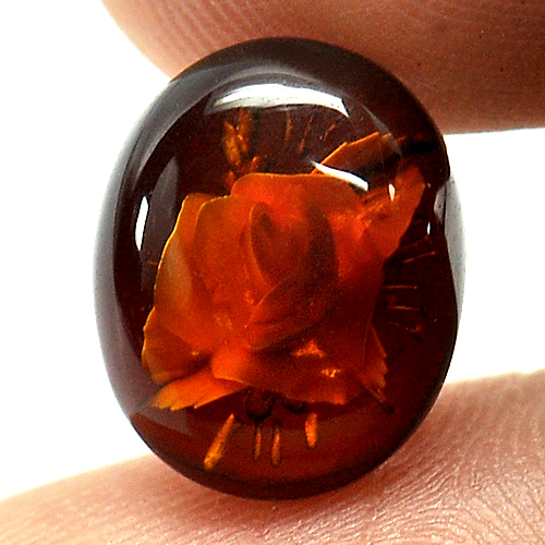 1.42 Ct. Flower Carving In Natural Brown Yellow Amber