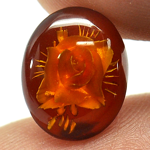 1.07 Ct. Flower Carving In Natural Brown Yellow Amber