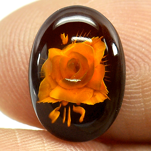 1.18 Ct. Flower Carving In Natural Brown Yellow Amber