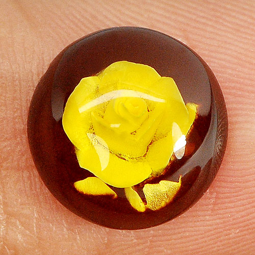 0.84 Ct. Flower Carving In Natural Brown Yellow Amber