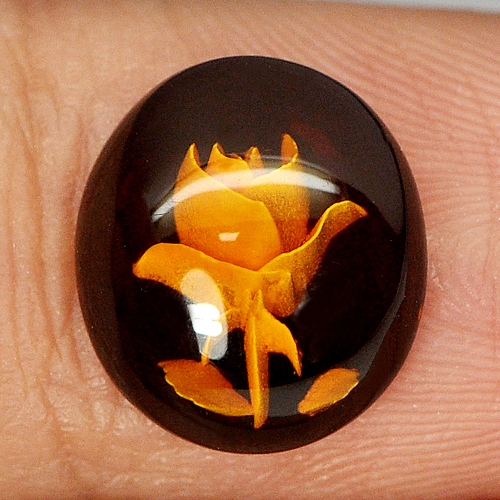 0.87 Ct. Flower Carving In Natural Brown Yellow Amber