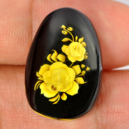 9.47 Ct. Pear Cab Natural Flower In Brown Yellow Amber Poland Unheated