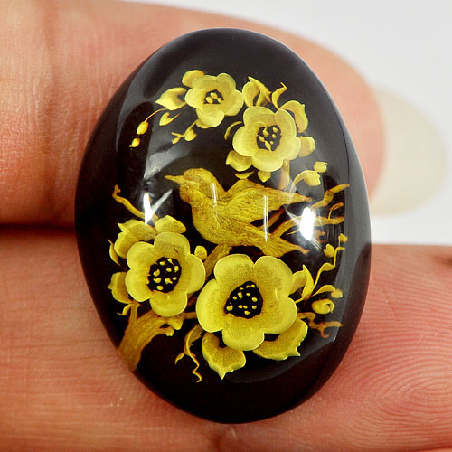 11.75 Ct. Fancy Cabochon Shape Natural Flower and Bird In Brown Yellow Amber