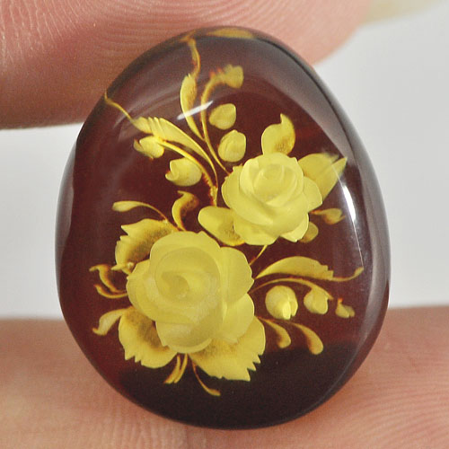 7.85 Ct. Pear Cab Natural Flower In Brown Yellow Amber Poland Unheated