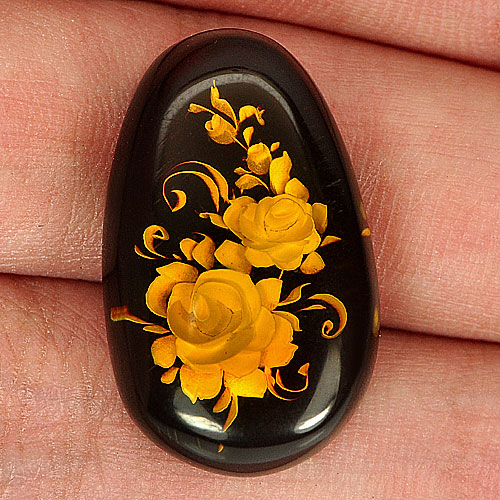 8.37 Ct. Fancy Cab Natural Flower In Brown Yellow Amber Poland Unheated
