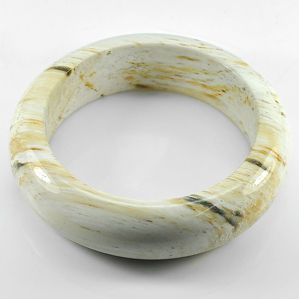 472.04Ct.Diameter 61Mm.Natural Petrified Wood Unique Pattern Bangle High Quality