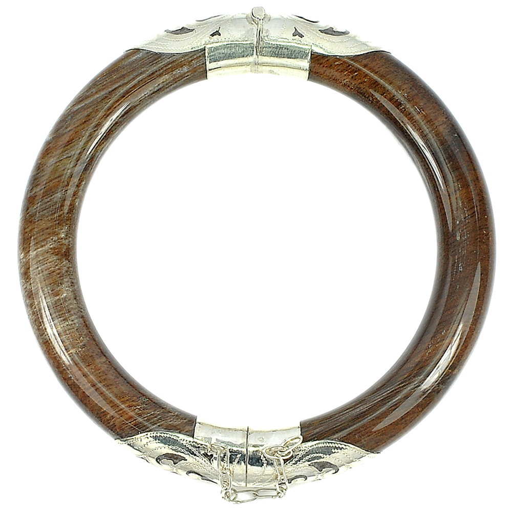 Unheated Natural Brown Petrified Wood Unique Pattern Bangle Silver Very Nice