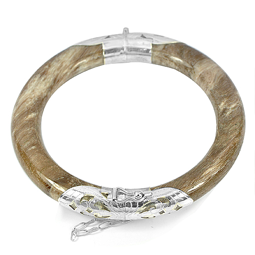 246 Ct. Natural Petrified Wood Unique Pattern White Brown Bangle with Silver