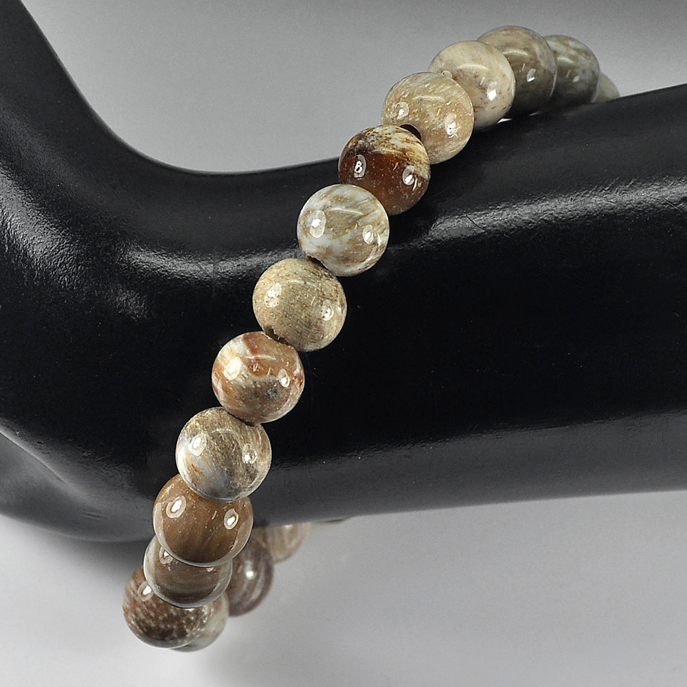 87.78 Ct. Natural Brown Petrified Wood Unique Pattern Bracelet 7 Inch.Unheated