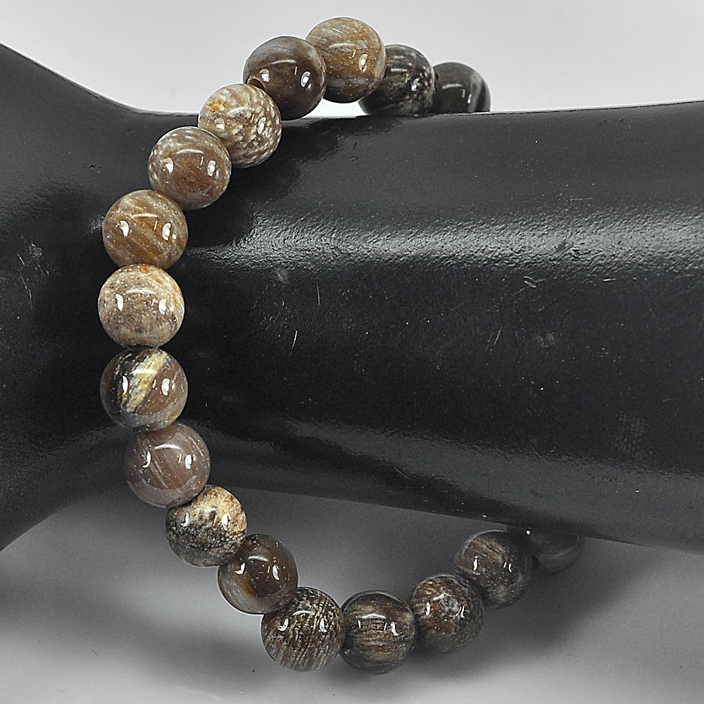 86.52 Ct. Natural Petrified Wood Brown Unique Pattern Bracelet 8 Inch. Unheated