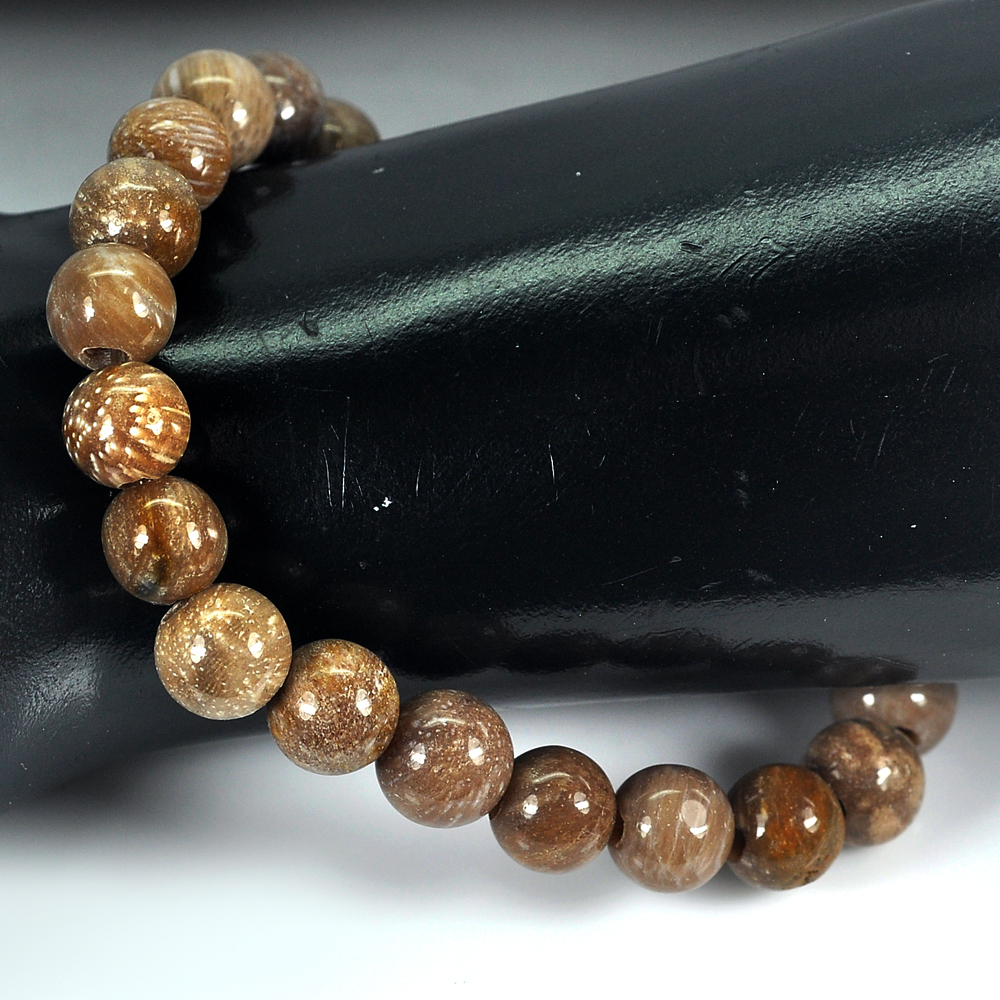 88.06 Ct. Lovely Brown Unique Pattern Natural Petrified Wood Bracelet 8 Inch.