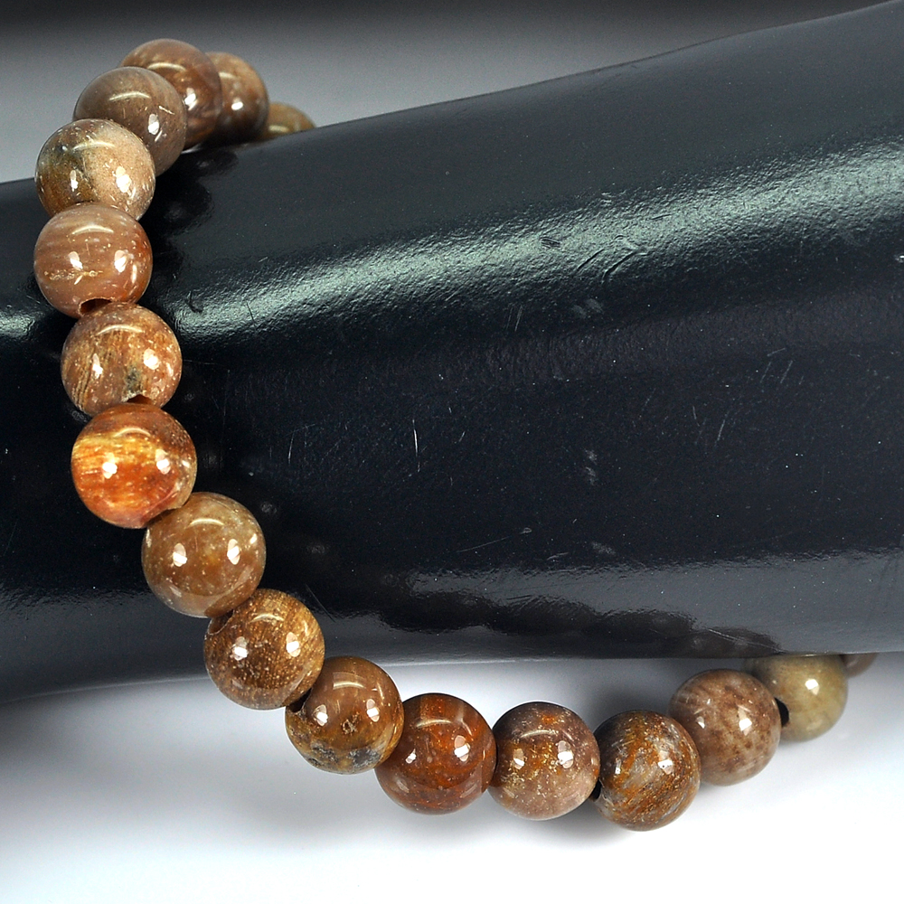 88.27 Ct. Unheated Brown Unique Pattern Natural Petrified Wood Bracelet 8 Inch.