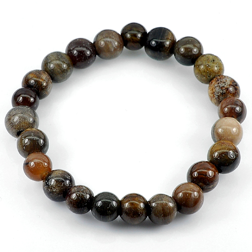 78.20 Ct. Natural Petrified Wood Unheated Brown Unique Pattern Bracelet 8 Inch.