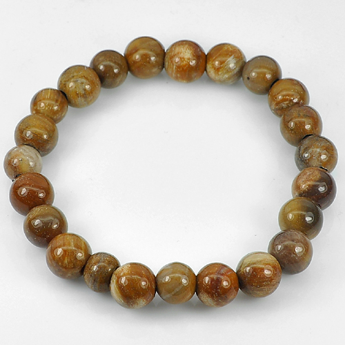 84.64 Ct. Natural Petrified Wood Unheated Brown Unique Pattern Bracelet 8 Inch.
