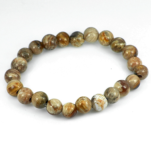 80.52 Ct. Natural Petrified Wood Unheated Brown Unique Pattern Bracelet 7 Inch.