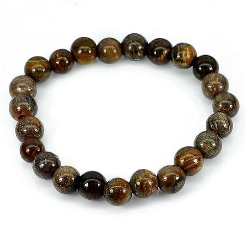 88.11 Ct. Natural Petrified Wood Unheated Brown Unique Pattern Bracelet 8 Inch.