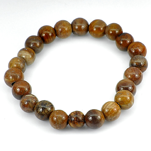 83.23 Ct. Unheated Brown Natural Petrified Wood Unique Pattern Bracelet 7 Inch.
