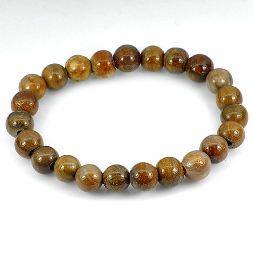 87.59 Ct. Natural Brown Petrified Wood Unique Pattern Bracelet 8 Inch.Unheated
