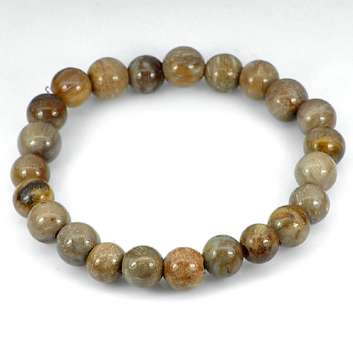 84.49 Ct. Unheated Brown Natural Petrified Wood Unique Pattern Bracelet 8 Inch.