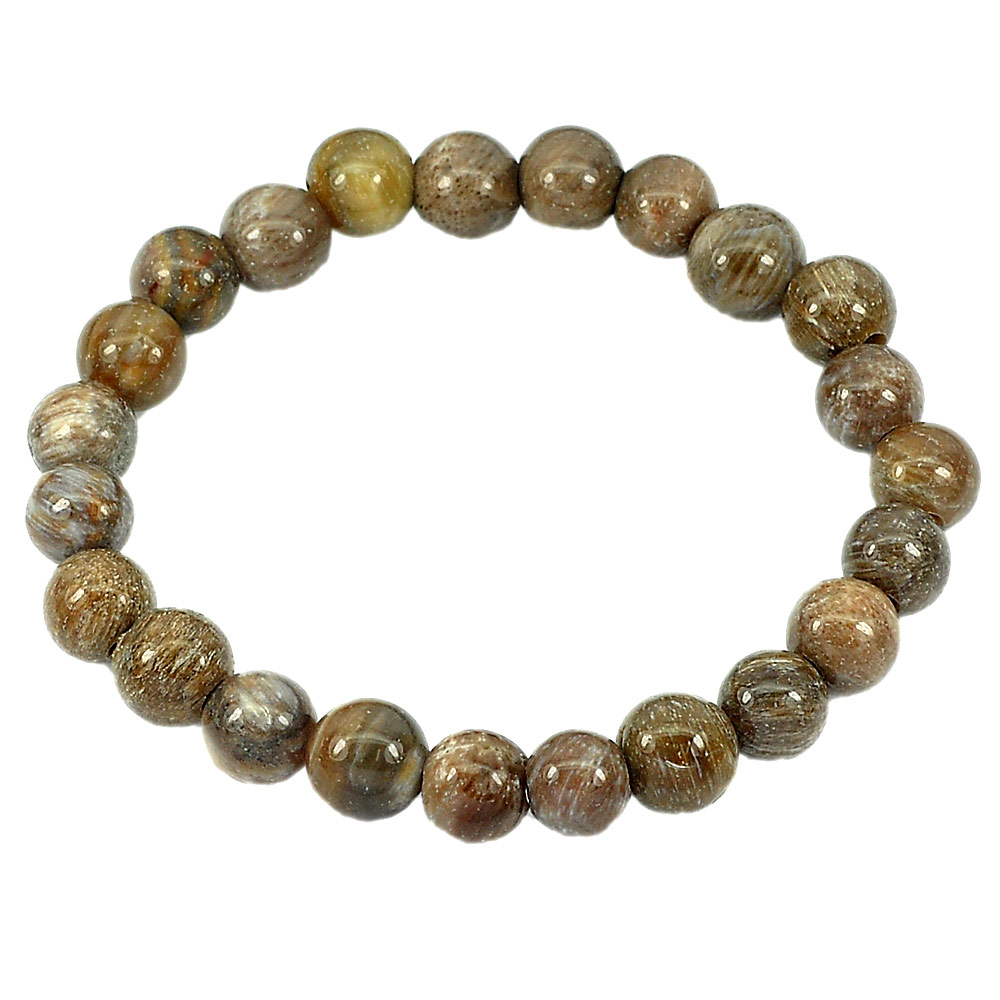 87.52 Ct. Brown Natural Petrified Wood Unheated Unique Pattern Bracelet 7 Inch.