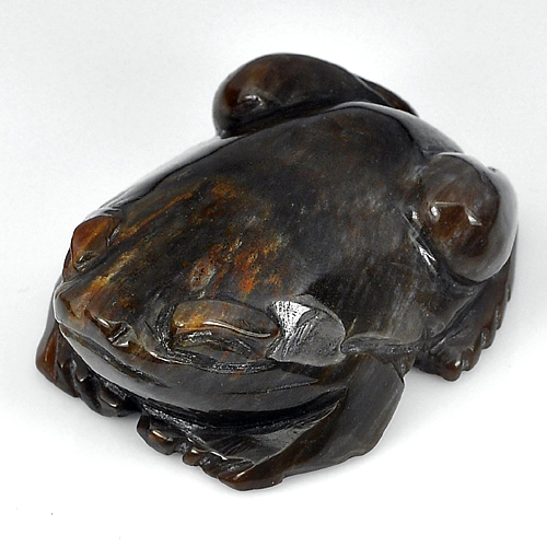 214.32 Ct. Natural Brown Petrified Wood Frog Carving From Thailand Unheated