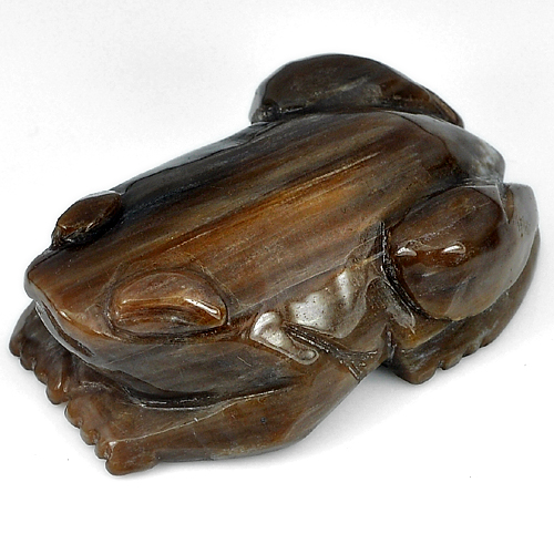451.48 Ct. Unheated Frog Carving Natural Brown Petrified Wood Thailand
