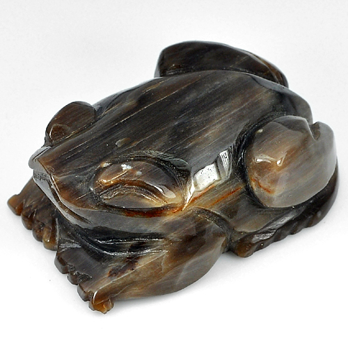 303.44 Ct. Unheated Frog Carving Natural Brown Petrified Wood Thailand