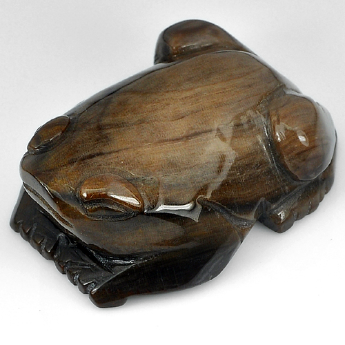 277.90 Ct. Natural Frog Carving Brown Petrified Wood From Thailand Unheated