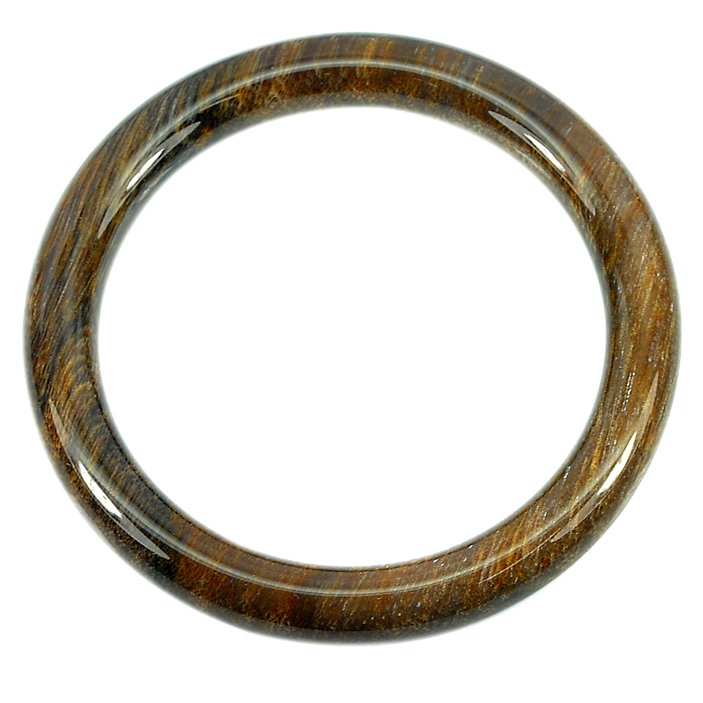 218.68 Ct. Beautiful Natural Brown Petrified Wood Unique Pattern Bangle .