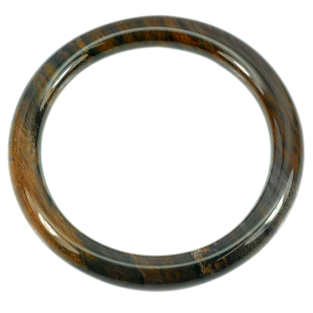 206.78 Ct. Natural Brown Petrified Wood Unique Pattern Bangle Diameter 62 Mm.