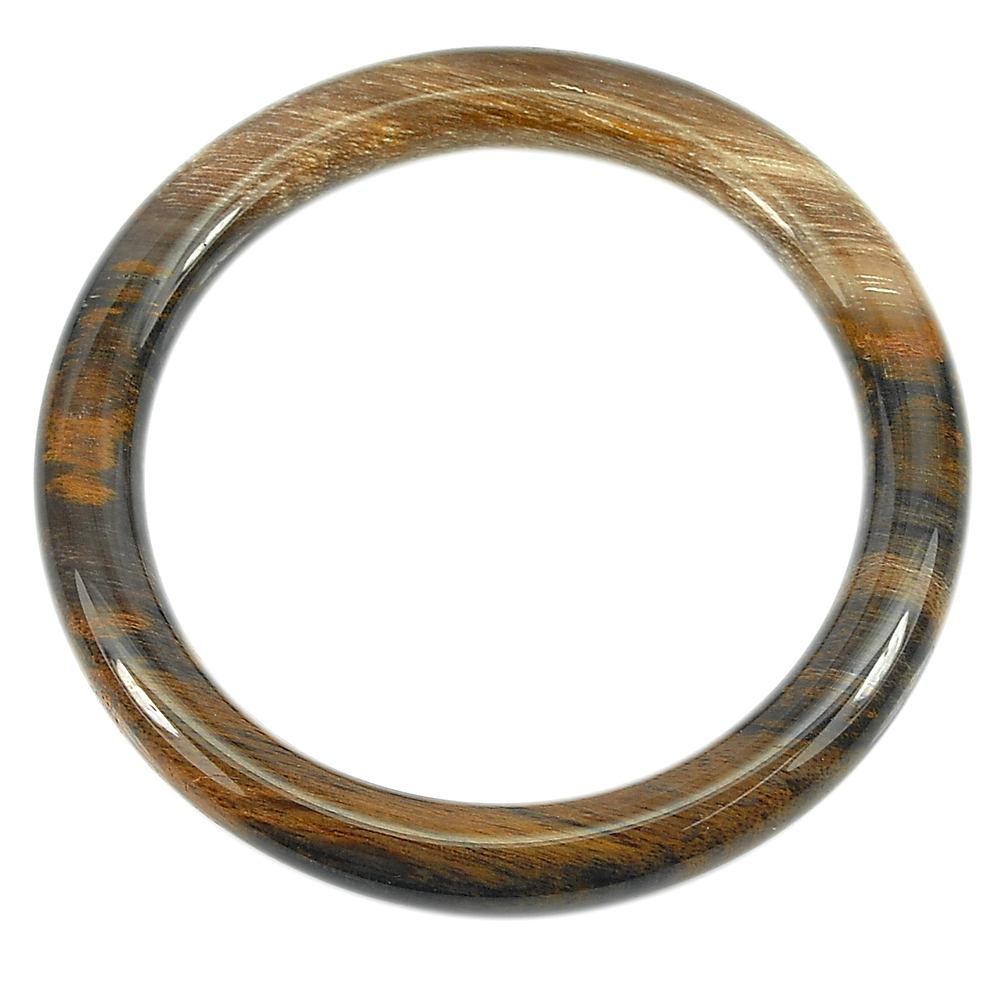 214.72 Ct. Natural Brown Petrified Wood Unique Pattern Bangle Diameter 61 Mm.