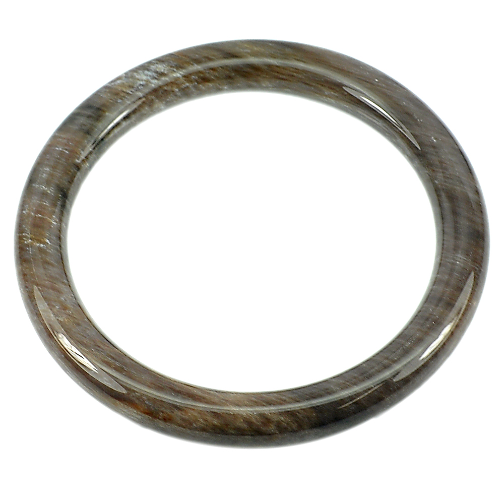 193.91 Ct. Natural Brown Petrified Wood Bangle Diameter 62 Mm. From Thailand
