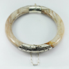 240.95 Ct. Natural Petrified Wood Unique Pattern Bangle with Silver Fine Jewelry