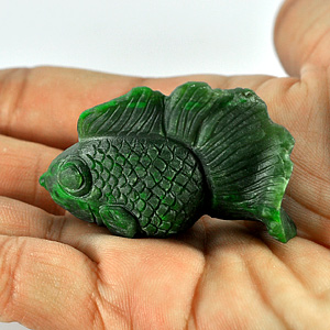 104.60 Ct. Alluring Natural Green Fish Carved Jade