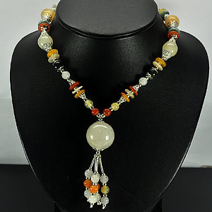 409.67 Ct. Pretty Natural Fancy Color Jade Bead Nickel Necklace Length 17 Inch.