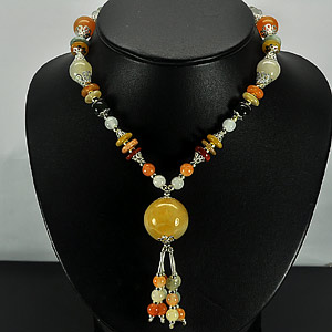421.45 Ct. Vivid Natural Fancy Color Jade Bead Nickel Necklace Length 17 Inch.