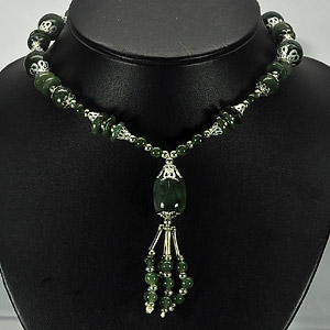 353.02 Ct. Lovable Natural Green Jade Nickel Necklace Length 16 Inch