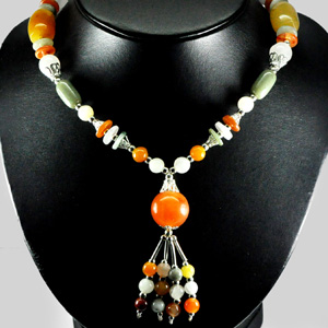 436.10 Ct. Vivid Natural Fancy Color Jade Bead Nickel Necklace