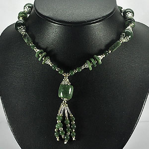 315.56 Ct. Nice Natural Green Jade Bead Nickel Necklace Length 15.5 Inch.