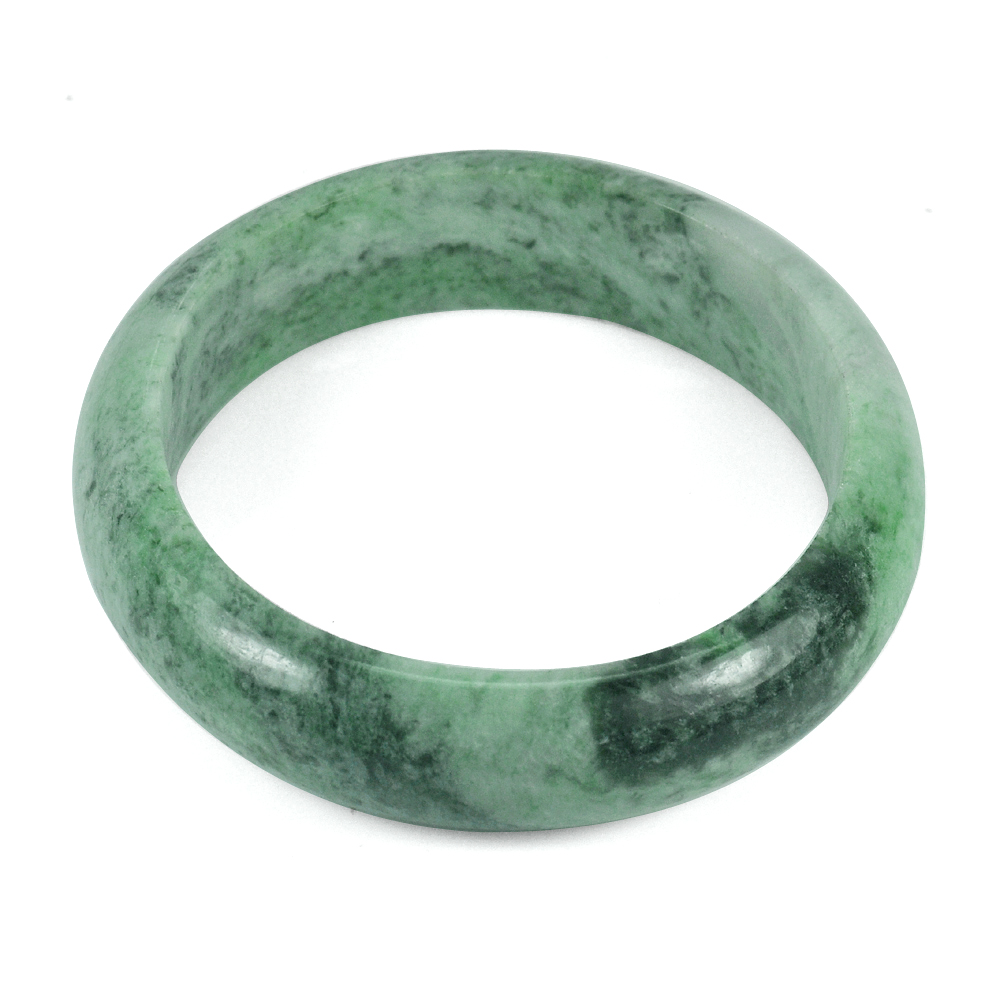 245.64 Ct. Size 65x52x15 Mm. Natural Gemstone Green Jade Bangle Unheated