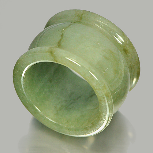 54.69 Ct. Natural Gemstone Green Jade Ring Size 9 Thailand Unheated