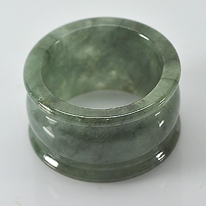 Unheated 52.75 Ct. Size 9.5 Natural White Green Jade Ring
