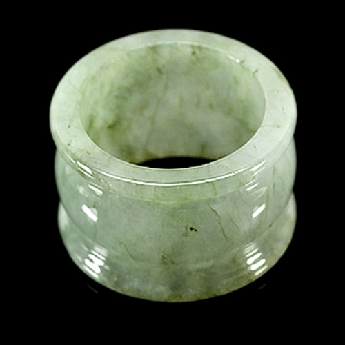 55.05 Ct. Natural White Green Jade Ring Size 9 Thailand Unheated