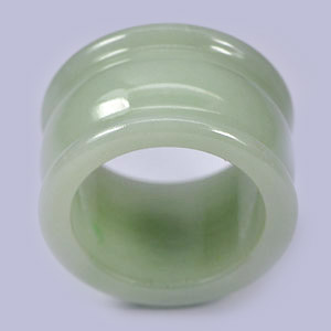 Unheated 52.18 Ct. Natural Green White Jade Ring Size 9.5 Thailand