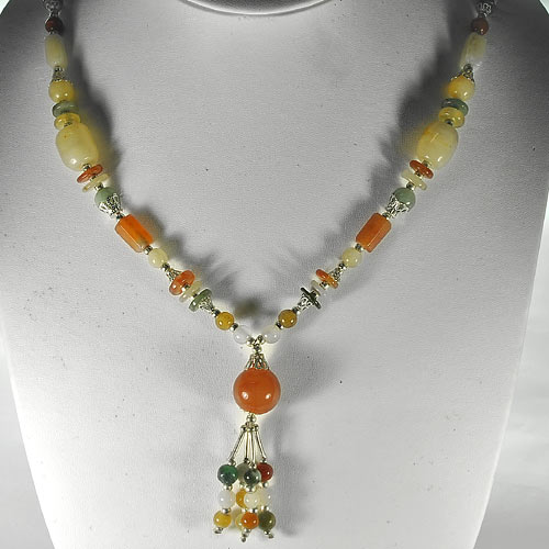 400.00 Ct. Natural Multi-Color Jade Nickel Necklace Length 17 Inch.
